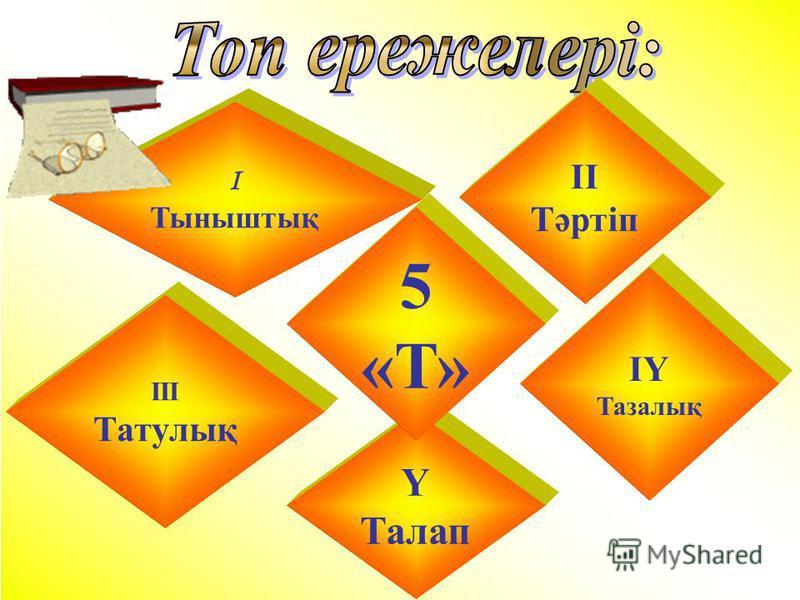 І Тыныштық ІІ Тәртіп ІY Тазалық ІІІ Татулық Y Талап 5 «Т»