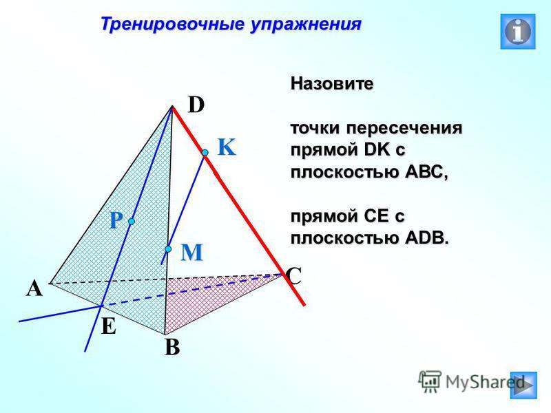 Тренировочные упражнения Тренировочные упражнения Назовите точки пересечения прямой DK с плоскостью АВС, прямой СЕ с плоскостью АDB. P E A B C D M K