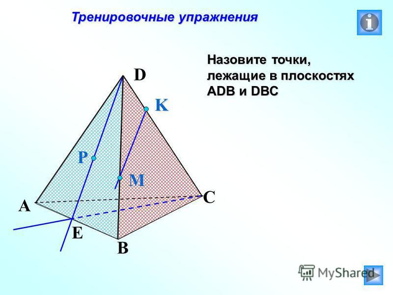 Тренировочные упражнения Тренировочные упражнения Назовите точки, лежащие в плоскостях АDB и DBC P E A B C D M K