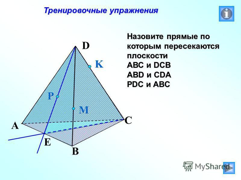 Тренировочные упражнения Тренировочные упражнения Назовите прямые по которым пересекаются плоскости АВС и DCB ABD и CDA PDC и ABC P E A B C D M K