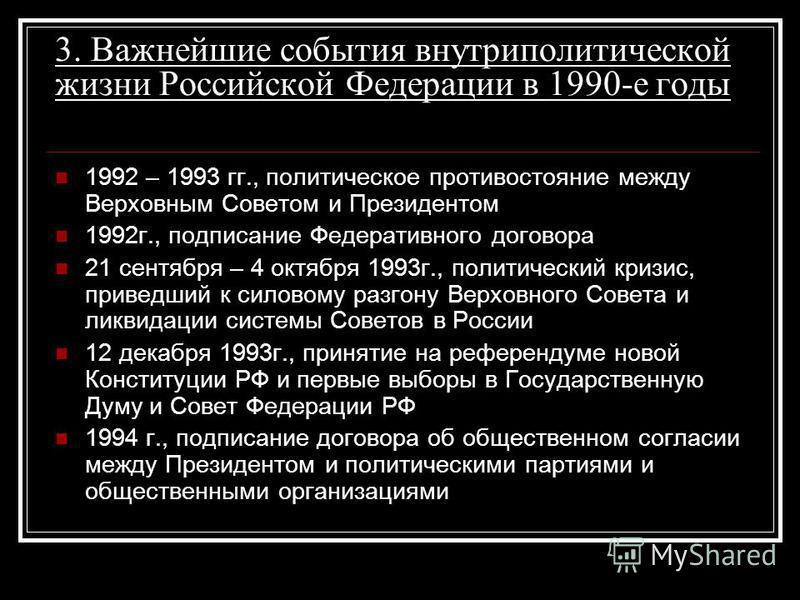 3. Важнейшие события внутриполитической жизни Российской Федерации в 1990-е годы 1992 – 1993 гг., политическое противостояние между Верховным Советом и Президентом 1992 г., подписание Федеративного договора 21 сентября – 4 октября 1993 г., политическ
