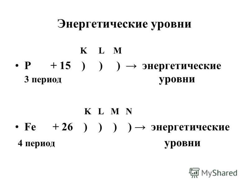 Энергетические уровни K L M Р + 15 ) ) ) энергетические 3 период уровни K L M N Fe + 26 ) ) ) ) энергетические 4 период уровни