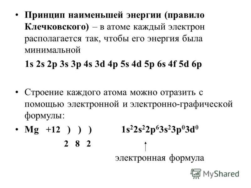 Принцип наименьшей энергии (правило Клечковского) – в атоме каждый электрон располагается так, чтобы его энергия была минимальной 1s 2s 2p 3s 3p 4s 3d 4p 5s 4d 5p 6s 4f 5d 6p Строение каждого атома можно отразить с помощью электронной и электронно-гр