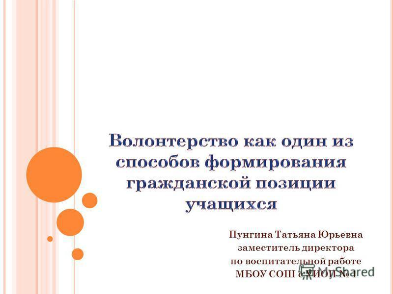Пунгина Татьяна Юрьевна заместитель директора по воспитательной работе МБОУ СОШ с УИОП 1