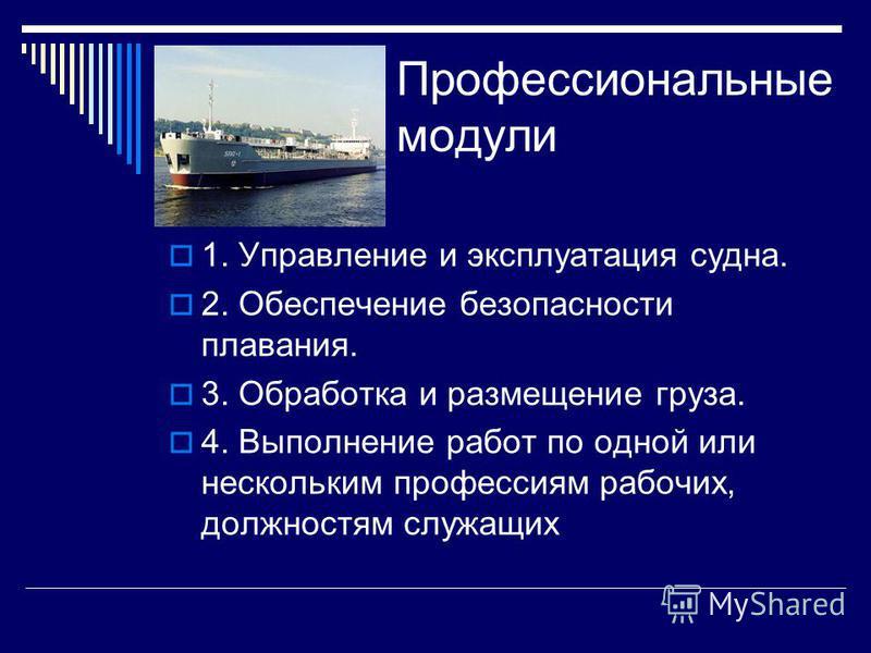 Профессиональные модули 1. Управление и эксплуатация судна. 2. Обеспечение безопасности плавания. 3. Обработка и размещение груза. 4. Выполнение работ по одной или нескольким профессиям рабочих, должностям служащих