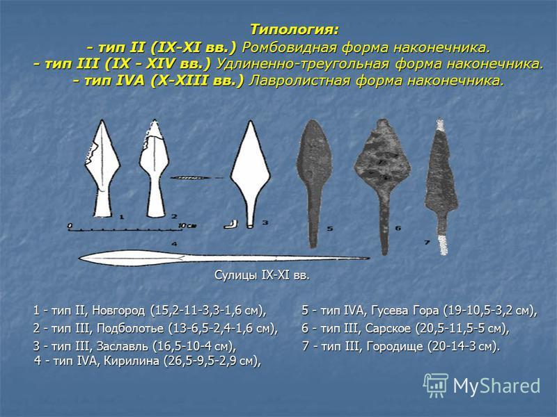 Типология: - тип II (IX-XI вв.) Ромбовидная форма наконечника. - тип III (IX - XIV вв.) Удлиненно-треугольная форма наконечника. - тип IVA (X-XIII вв.) Лавролистная форма наконечника. Типология: - тип II (IX-XI вв.) Ромбовидная форма наконечника. - т