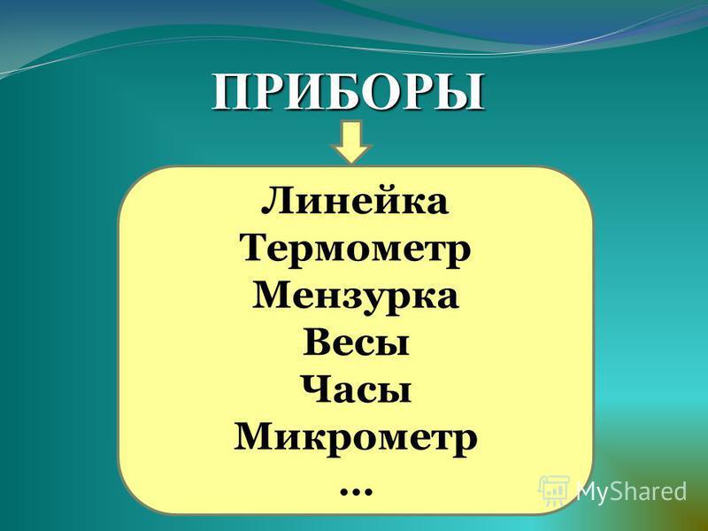 Линейка Термометр Мензурка Весы Часы Микрометр … ПРИБОРЫ