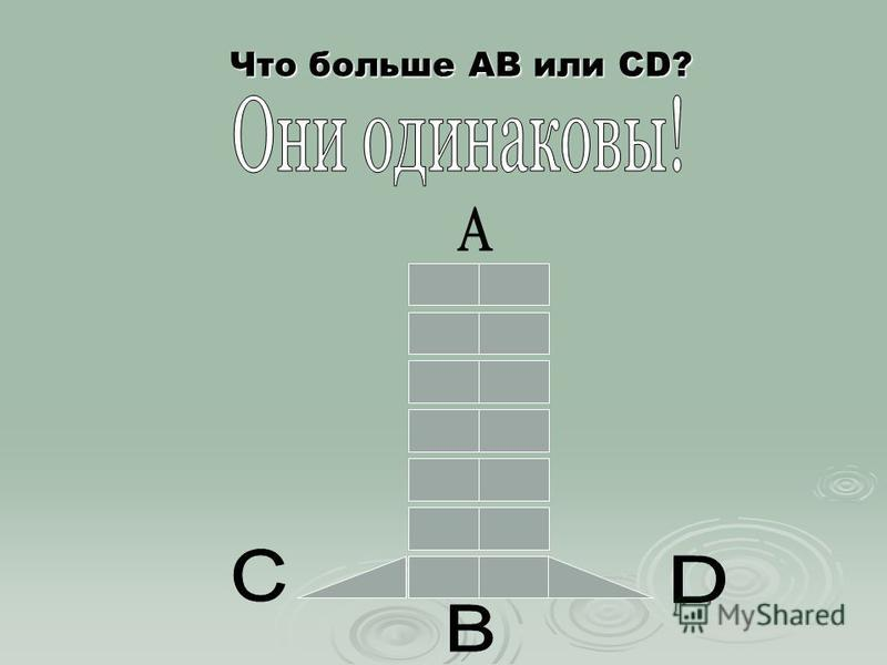 Что больше АВ или CD?