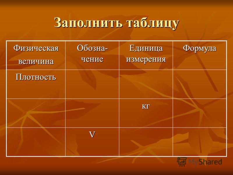 Заполнить таблицу Физическаявеличина Обозна- чение Единица измерения Формула Плотность кг V