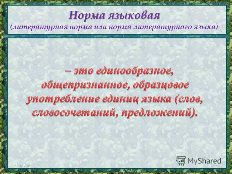 9 Норма языковая Норма языковая (литературная норма или норма литературного языка)