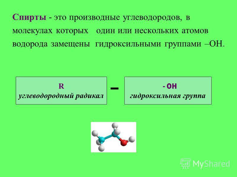 Спирты - это производные углеводородов, в молекулах которых один или нескольких атомов водорода замещены гидроксильными группами –ОН. - ОН гидроксильная группа R углеводородный радикал