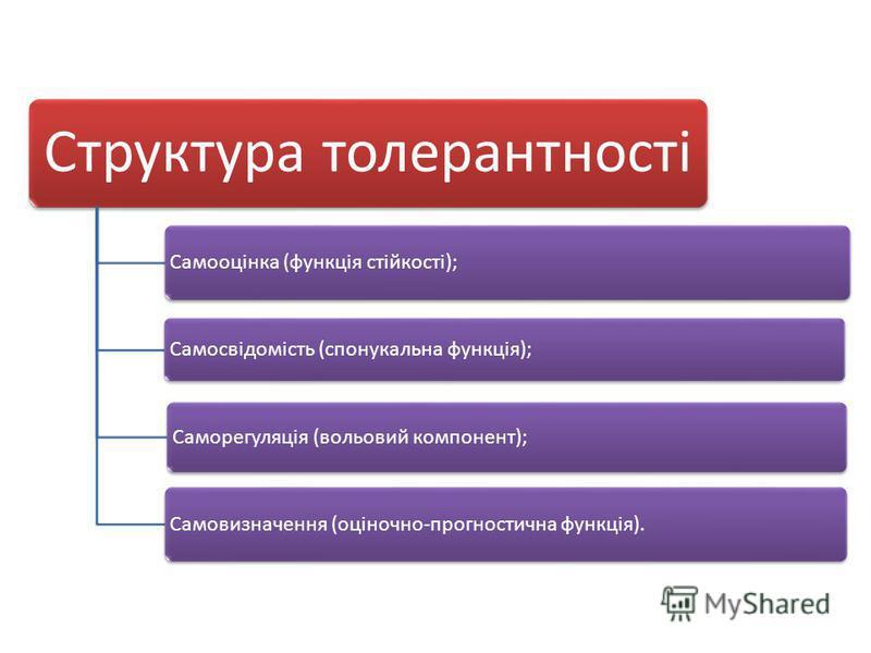Структура толерантності Самооцінка (функція стійкості); Самосвідомість (спонукальна функція); Саморегуляція (вольовий компонент); Самовизначення (оціночно-прогностична функція).