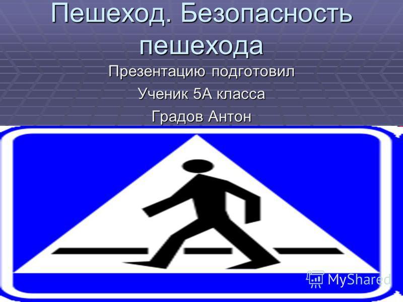 Пешеход. Безопасность пешехода Презентацию подготовил Ученик 5А класса Градов Антон