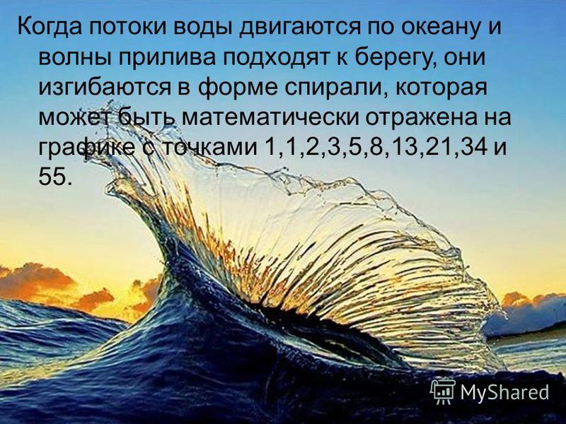 Когда потоки воды двигаются по океану и волны прилива подходят к берегу, они изгибаются в форме спирали, которая может быть математически отражена на графике с точками 1,1,2,3,5,8,13,21,34 и 55.