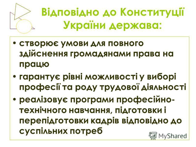 Відповідно до Конституції України держава: створює умови для повного здійснення громадянами права на працю гарантує рівні можливості у виборі професії та роду трудової діяльності реалізовує програми професійно- технічного навчання, підготовки і переп