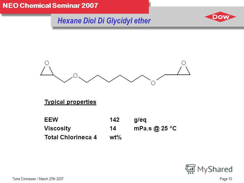 NEO Chemical Seminar 2007 Toine Dinnissen / March 27th 2007Page 10 Hexane Diol Di Glycidyl ether Typical properties EEW 142g/eq Viscosity14 mPa.s @ 25 °C Total Chlorineca 4 wt%