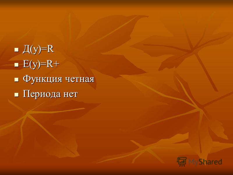 Д(у)=R Е(у)=R+ Функция четная Периода нет
