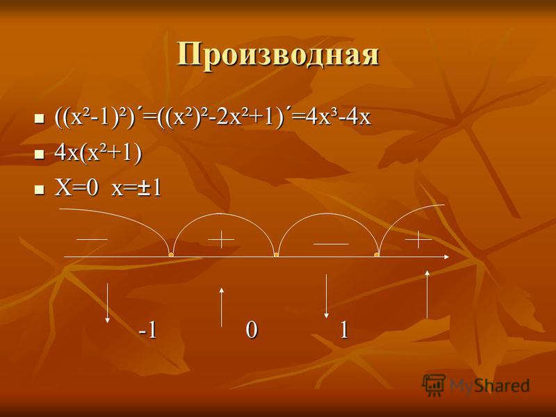 Производная ((х²-1)²)´=((х²)²-2х²+1)´=4х³-4х ((х²-1)²)´=((х²)²-2х²+1)´=4х³-4х 4х(х²+1) 4х(х²+1) Х=0 х=±1 Х=0 х=±1 -1 0 1 -1 0 1