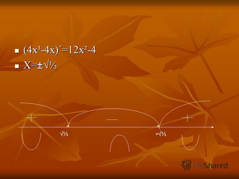 (4х³-4х)´=12х²-4 (4х³-4х)´=12х²-4 Х=± Х=±