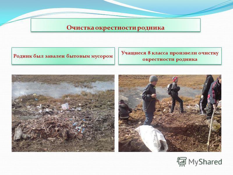 Очистка окрестности родника Родник был завален бытовым мусором Учащиеся 8 класса произвели очистку окрестности родника