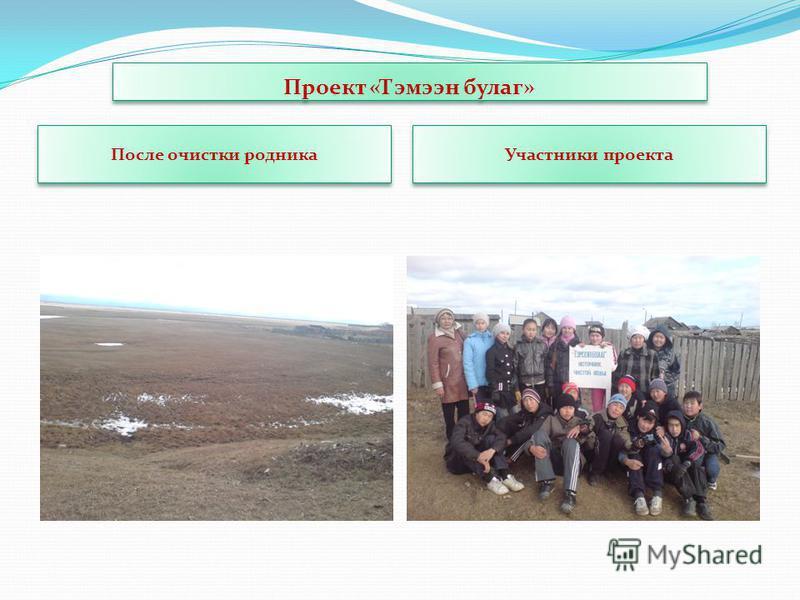 Проект «Тэмээн булаг» После очистки родника Участники проекта