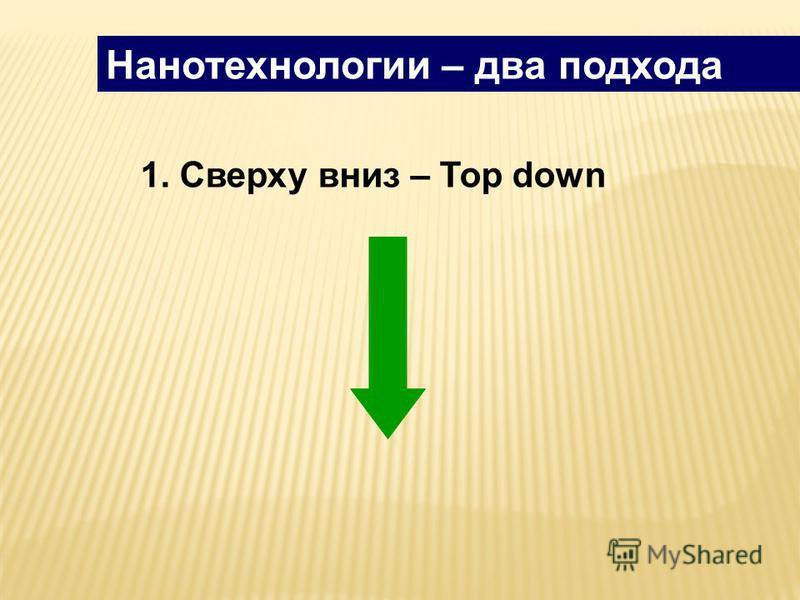 Нанотехнологии – два подхода 1. Сверху вниз – Top down