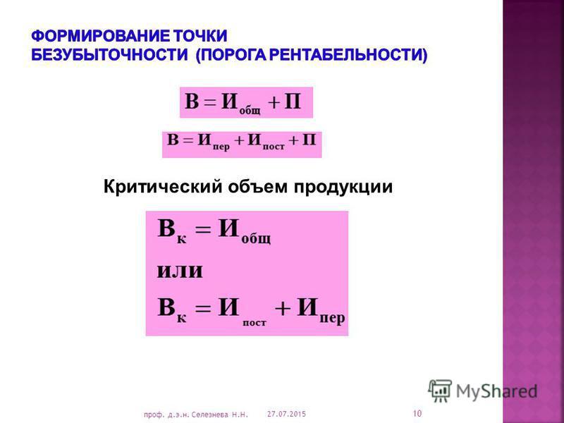 Критический объем продукции 27.07.2015 10 проф. д.э.н. Селезнева Н.Н.