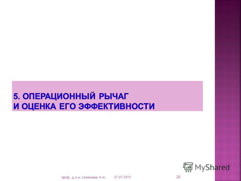 27.07.2015 20 проф. д.э.н. Селезнева Н.Н.