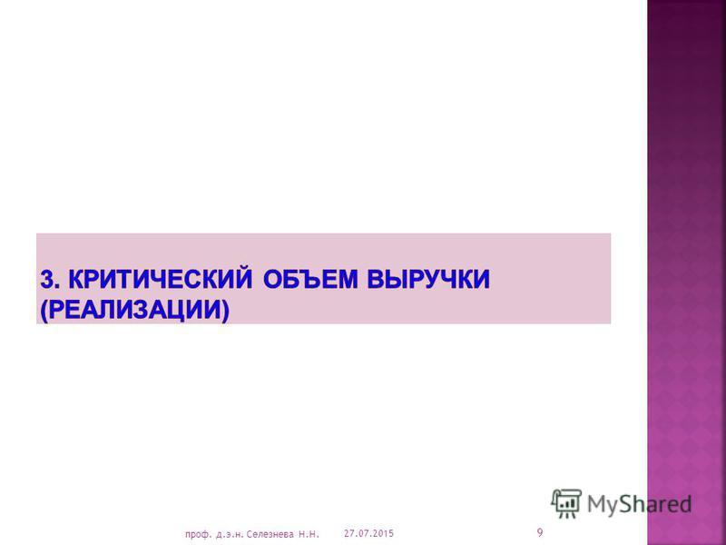 27.07.2015 9 проф. д.э.н. Селезнева Н.Н.