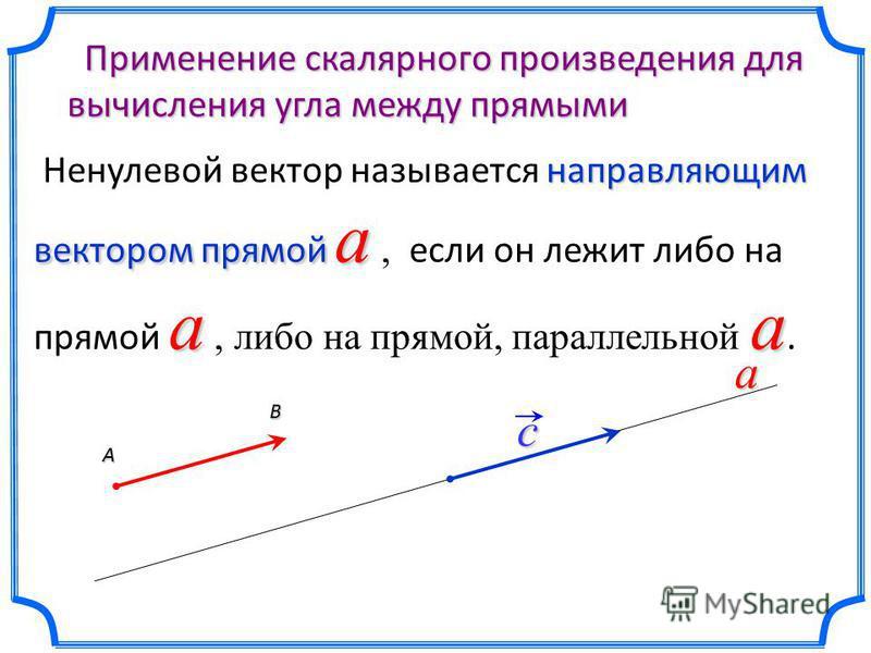 Применение скалярного произведения для вычисления угла между прямыми Применение скалярного произведения для вычисления угла между прямыми направляющим вектором прямой a aa Ненулевой вектор называется направляющим вектором прямой a, если он лежит либо