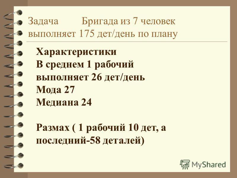 Задача Бригада из 7 человек выполняет 175 дет/день по плану Характеристики В среднем 1 рабочий выполняет 26 дет/день Мода 27 Медиана 24 Размах ( 1 рабочий 10 дет, а последний-58 деталей)