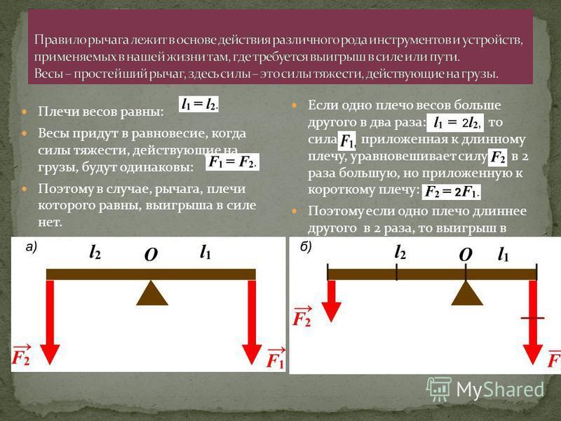 Плечи весов равны: Весы придут в равновесие, когда силы тяжести, действующие на грузы, будут одинаковы: Поэтому в случае, рычага, плечи которого равны, выигрыша в силе нет. Если одно плечо весов больше другого в два раза: то сила приложенная к длинно
