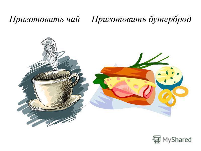 Приготовить чай Приготовить бутерброд