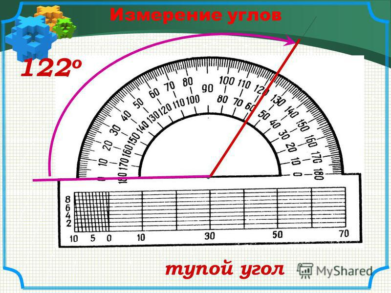 Измерение углов 40 о острый угол