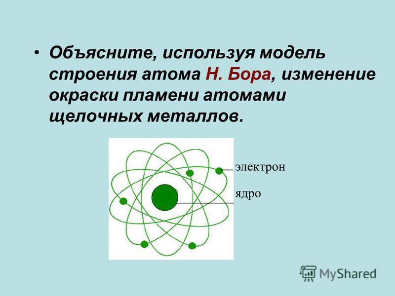 Объясните, используя модель строения атома Н. Бора, изменение окраски пламени атомами щелочных металлов. электрон ядро