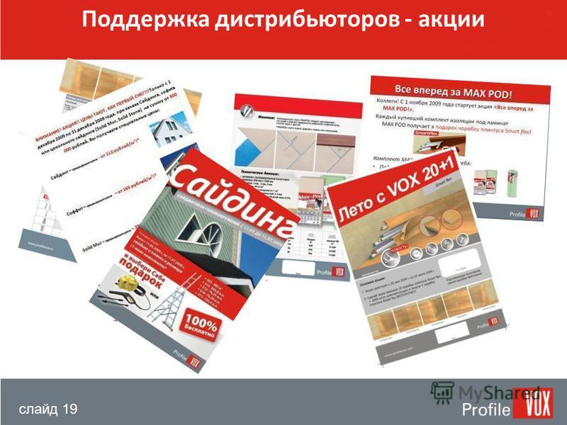 слайд 19 Поддержка дистрибьюторов - акции