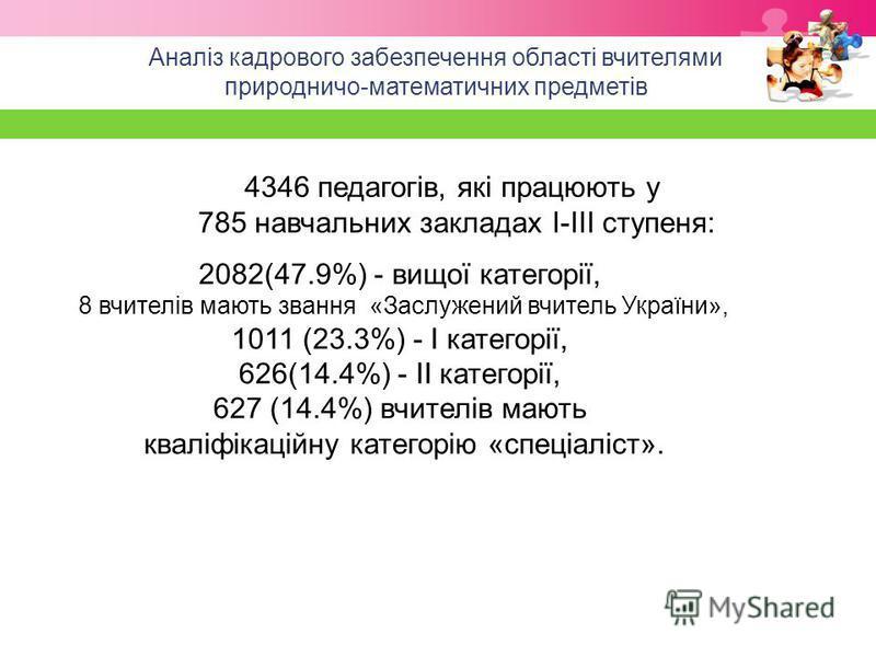 Аналіз кадрового забезпечення області вчителями природничо-математичних предметів 4346 педагогів, які працюють у 785 навчальних закладах І-ІІІ ступеня: 2082(47.9%) - вищої категорії, 8 вчителів мають звання «Заслужений вчитель України», 1011 (23.3%)