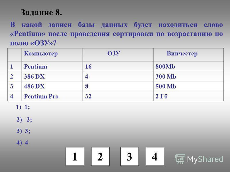 Задание 8. 1 2 3 4 В какой записи базы данных будет находиться слово «Pentium» после проведения сортировки по возрастанию по полю «ОЗУ»? Компьютер ОЗУ Винчестер 1Pentium16800Mb 2386 DX4300 Mb 3486 DX8500 Mb 4Pentium Pro322 Гб 1) 1; 2) 2; 3) 3; 4) 4