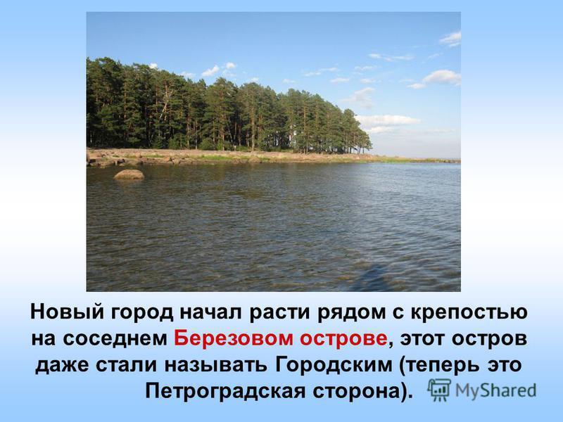 Новый город начал расти рядом с крепостью на соседнем Березовом острове, этот остров даже стали называть Городским (теперь это Петроградская сторона).