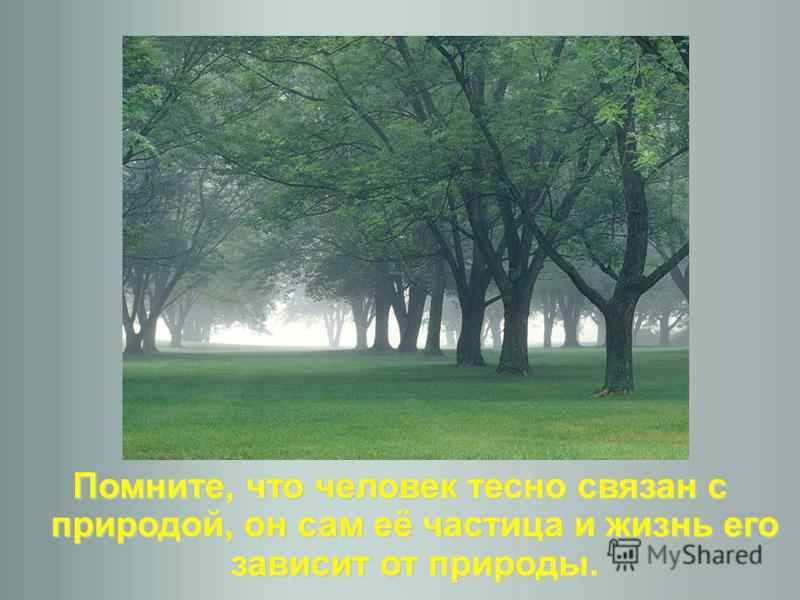 Помните, что человек тесно связан с природой, он сам её частица и жизнь его зависит от природы.