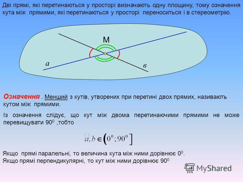 Дві прямі, які перетинаються у просторі визначають одну площину, тому означення кута між прямими, які перетинаються у просторі переноситься і в стереометрію. а в М Означення Означення. Менший з кутів, утворених при перетині двох прямих, називають кут