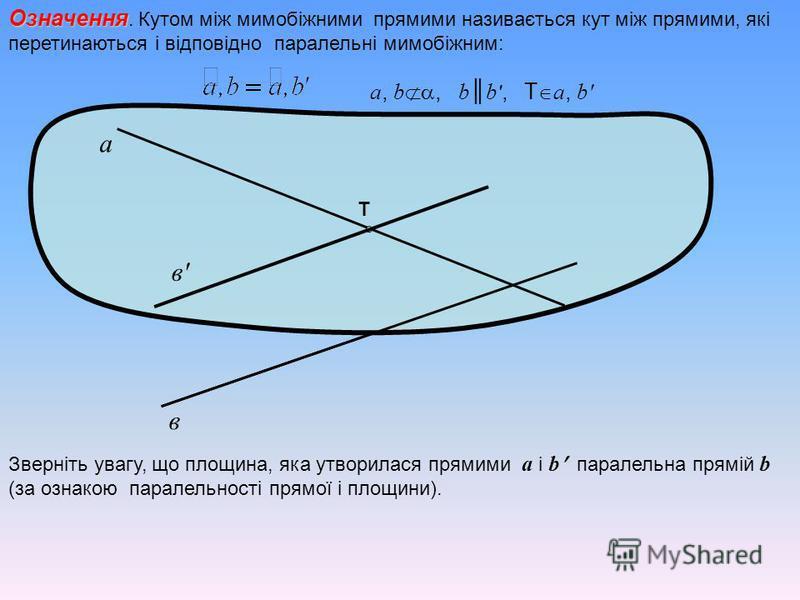 Означення Означення. Кутом між мимобіжними прямими називається кут між прямими, які перетинаються і відповідно паралельні мимобіжним: а в в'в' T a, b, b b ', T a, b' Зверніть увагу, що площина, яка утворилася прямими a і b паралельна прямій b (за озн