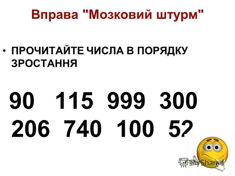 Вправа Мозковий штурм НАЗВІТЬ ТРИЦИФРОВІ ЧИСЛА 90 115 999 300 206 740 100 52