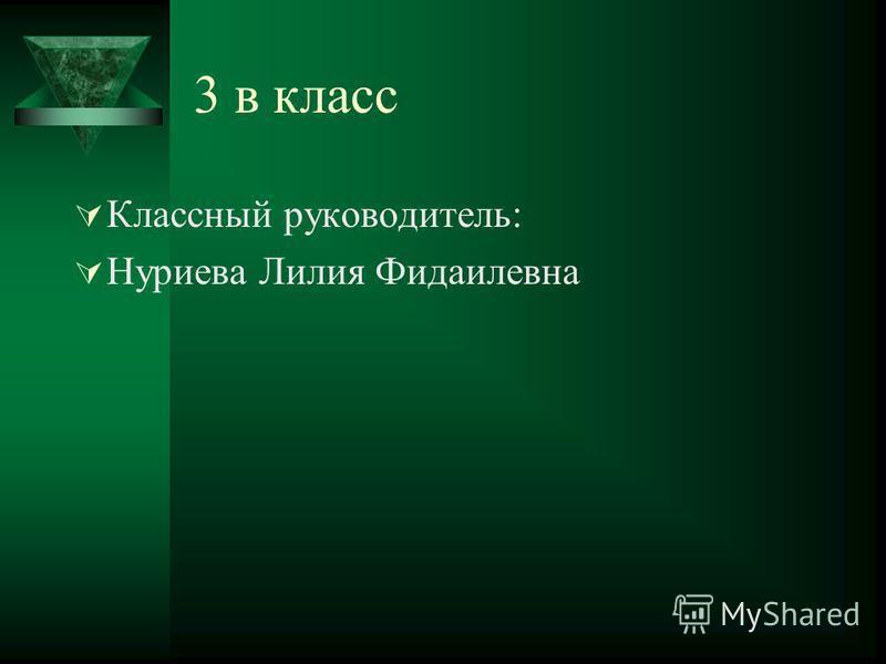 3 в класс Классный руководитель: Нуриева Лилия Фидаилевна