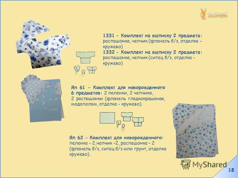 18 1331 - Комплект на выписку 2 предмета: распашонка, чепчик (фланель б/з, отделка - кружево) 1332 - Комплект на выписку 2 предмета: распашонка, чепчик (ситец б/з, отделка - кружево) Яп 61 - Комплект для новорожденного 6 предметов: 2 пеленки, 2 чепчи