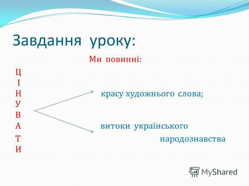 Завдання уроку: Ми повинні: Ц І Н красу художнього слова; У В А витоки українського Т народознавства И