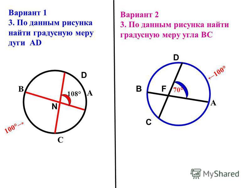 Вариант 2 3. По данным рисунка найти градусную меру угла BС В С 100° 70° А Вариант 1 3. По данным рисунка найти градусную меру дуги АD А D N 100° В С 108° D F