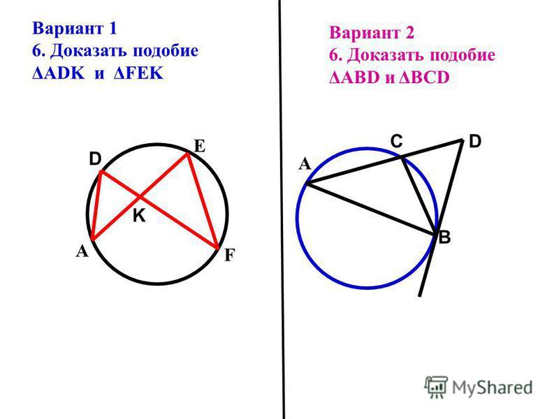 Вариант 2 6. Доказать подобие ΔАВD и ΔBCD В С А Вариант 1 6. Доказать подобие ΔADK и ΔFEK А D F E D K
