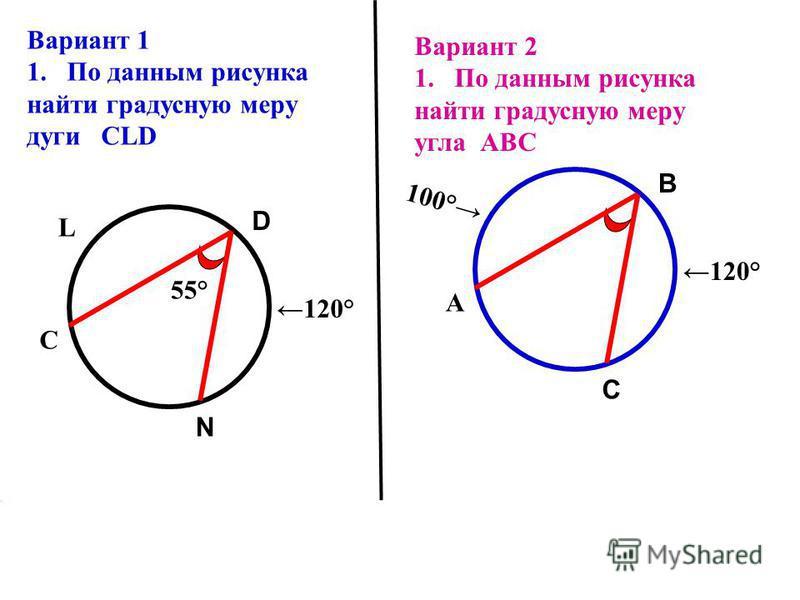 D N 120° L С 55° Вариант 1 1. По данным рисунка найти градусную меру дуги CLD Вариант 2 1. По данным рисунка найти градусную меру угла АВС В С 120° 100° А