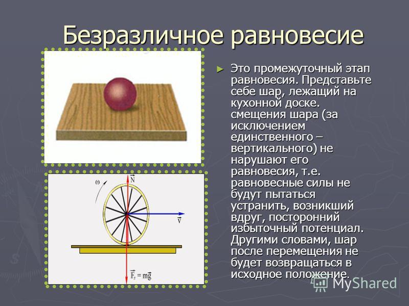 Безразличное равновесие Это промежуточный этап равновесия. Представьте себе шар, лежащий на кухонной доске. смещения шара (за исключением единственного – вертикального) не нарушают его равновесия, т.е. равновесные силы не будут пытаться устранить, во